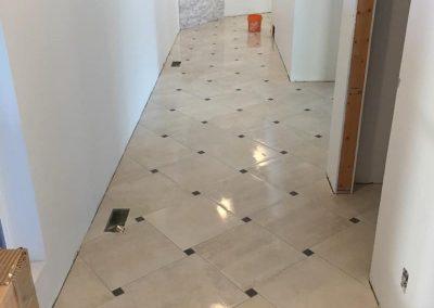 Arden Hallway lackand White Diamond Floor Tile